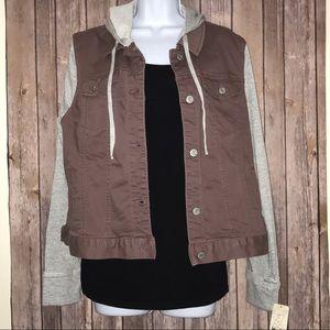 NWT Hooded Knit-Sleeve Denim Jacket